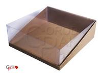 300х300х100 Коробка с прозрачной крышкой трапеция и встроенным дном_Ткп