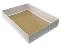 480х350х080 Ткп, картонная коробка с прозрачной крышкой и вставкой на дно